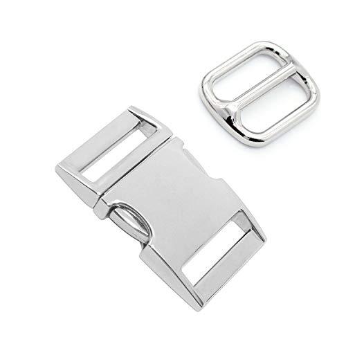WJUAN Steckverschluss Metall 51 mm Gurtversteller 33 mm, Metall Schnallen für Armbänder, Hunde- Halsbänder, Rucksack (Silber)