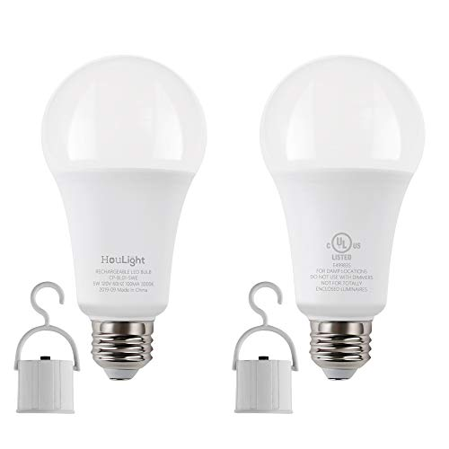 HouLight 5W Rechargeable Emergency LED Light Bulbs with Back Up Battery for Power Outage, Camping, Hurricane, Disaster Planning, 40W Equivalent (5000K Daylight White, 2-Pack)