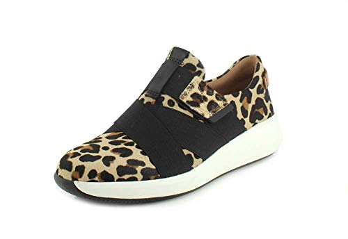 Clarks Womens Un Rio Strap Leopard Pony Hair Leather Sneaker - 9