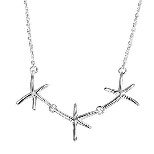 Onefeart Sterling Zilveren Hanger Ketting Vrouwen Meisjes Chic Zeester Ketting Elegantie Mode Sieraden 45CM Zilver