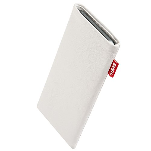 fitBAG Beat Weiß Handytasche Tasche aus Echtleder Nappa mit Microfaserinnenfutter für Thomson Connect TH701 | Hülle mit Reinigungsfunktion | Made in Germany
