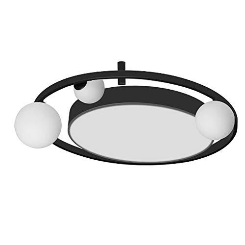 SHYPT Luz de techo LED simple moderna para comedor, sala de estar, cocina, dormitorio, lámpara de panel decorativa, bola de cristal creativa, accesorios negros redondos