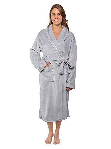 Women Fleece Robe with Satin Trim|Luxurious Soft Plush Bathrobe,Light Grey,S/M