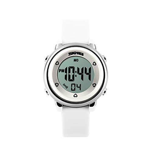 HenMerry 子供キッズ学生腕時計 鮮やかなLED人気時計 デジタル時計シリコンバンド 選べ6色 50メートル防水 バックライト機能 人気運動日常兼用時計 ストップウォッチ時計 目覚まし時計機能 (ホワイト)