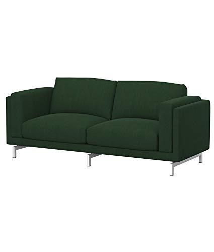 Soferia Funda de Repuesto para IKEA NOCKEBY sofá de 2 plazas, Tela Majestic Velvet Bottle Green, Verde