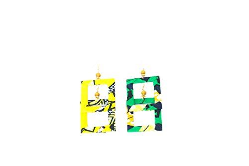 Pendientes de diseño de tejido wax africano, 100% algodón, hechos en Francia, amarillo, verde y negro. Joya colorida elegante hecha a mano, idea regalo original para mujer Boutique Mansaya