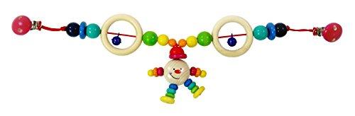 Hess Holzspielzeug 12973 - Wagenkette aus Holz, Serie Michel, für Babys ab 3 Monaten, handgefertigt, mit 2 Sicherheitsclips, Länge ca. 52 cm, für Kinderwagen und Babyschale
