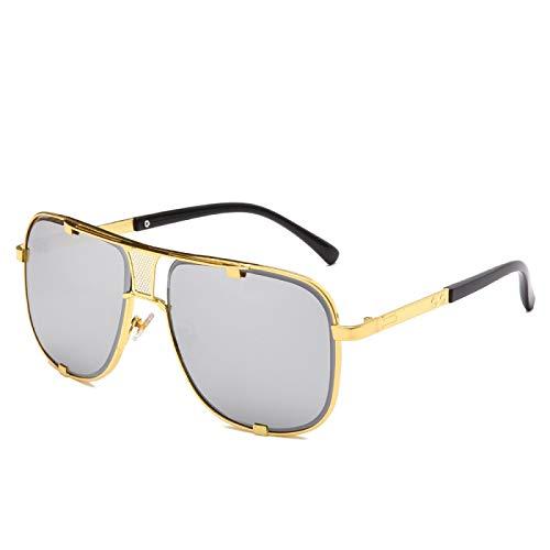 Gafas de Sol Sunglasses Gafas De Sol Clásicas De Gran Tamaño para Hombre, Gafas De Sol De Lujo con Doble Haz para Mujer, Gafas Cuadradas Retro para Hombre, Uv400, Espejo Anti-UV