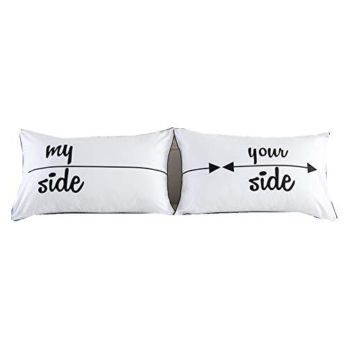 Fundas de almohada, regalo para parejas, para él y para ella, relleno de almohada no incluido, de NTBED, poliéster, My Side Your Side, Estándar