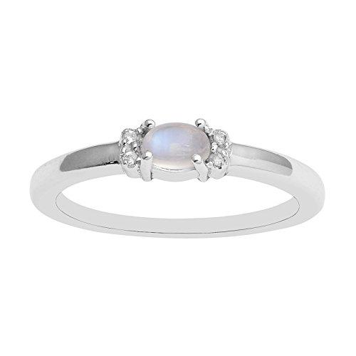 Horizontale Reihe von Regenbogen Oval Mondstein Ring von Solitaire mit weißen Topas Duo Akzente Größe-58(18.5)