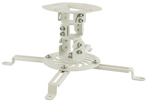 MOUNT-IT! Low Profile Projector Ceiling Mount [30 lbs Capacity] Universal Bracket   360 Full Motion Rotation with 30 Degree Tilt and Roll (White   Short)