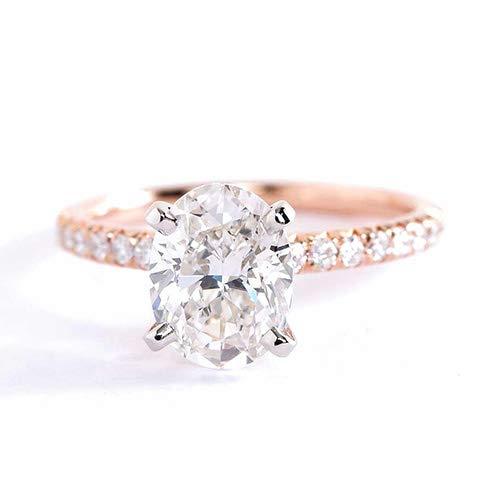 Anillo de compromiso de oro rosa de 18 quilates con diamante de corte redondo de 1,20 quilates SI2 H