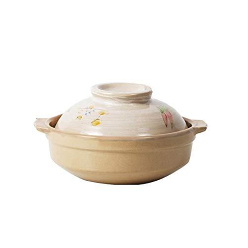 hongbanlemp ollas Rectas Pote de cazuela de Arcilla Redonda con Mango Dual y Cubierta de Sopa Resistente a Alta Temperatura Pote de cazuela Multifuncional Cocina de Cocina Olla Sopa (Style : B)