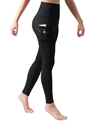 ODODOS Women's High Waisted Tummy Control Workout Pants, Full-Length Leggings with Dual Pockets, Black, Medium