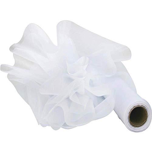 Rollo Organza Tul Blanco Cinta para Decoración Boda Fiesta Cumpleaños Lazos Silla Falda Vestido Camino Mesa Coser Bolsas Regalo - 26m*28cm
