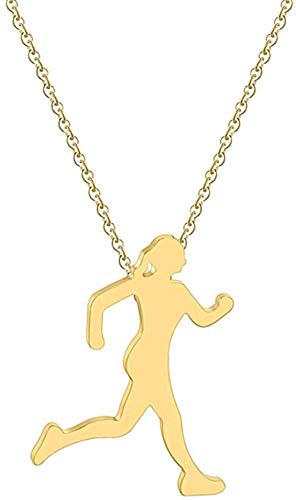 TYWZH Necklace Stainless Steel Sports Jewelry Figure Yoga Necklaces Dancer Run Ballerinagold Women Necklace Female Birthday Gift K