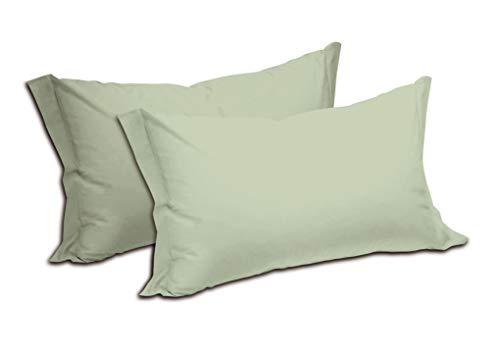 Fundas de almohada de color liso, 100% puro algodón, paquete de 2 unidades, con cierre de sobre, suave y ligera, transpirable, medidas: 52 x 82 cm (verde toalla)