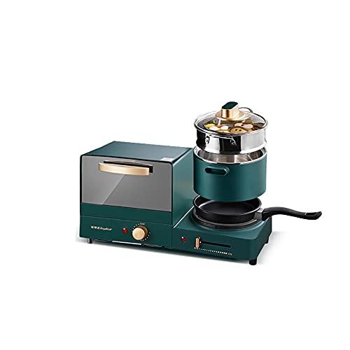 DMKYDM Máquina de Desayuno Mini Mini multifunción Cuatro en uno Automático Tostador Vintage Green