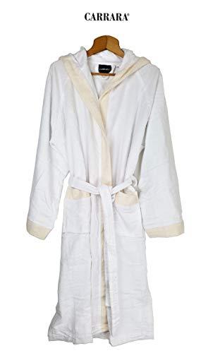 Carrara Bademantel für Damen mit Kapuze aus Reiner Baumwolle (weiß Größe S/M)