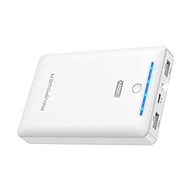 RAVPower Portable Chargers 16750 16750mAh External Battery Pack 4.5A Dual USB Output External Phone Charger Battery Bank Power Bank (iSmart 2.0 Tech) for Nintendo Switch, iPhone 7, Galaxy S8 - White