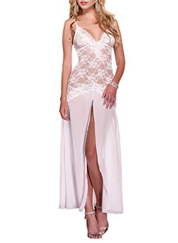 FOBEXISS Women's SOID Color Sexy Side Split Dress Babydoll Nightwear Long...