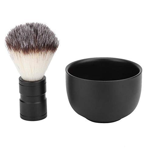 Jabón de afeitar de acero inoxidable para hombre, cepillo suave, kit de herramientas de limpieza de barba, cepillo de afeitar de nailon suave para cabello roto(Negro)