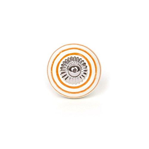 Unbekannt Bouton de Meuble Petit Blanc avec Rayures Oranges