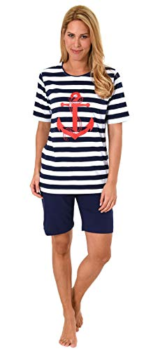 Damen Shorty, kurzer Pyjama mit Bermuda Hose - Maritimer Look - 62812, Farbe:Marine, Größe2:40/42