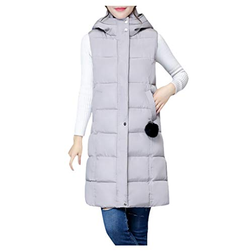 Lialbert Damen Weste Lang Mantel Outwear Ärmellose mit Kapuze Steppweste Wintermantel Vest Leicht Daunenweste ÄRmellos Winterjacke