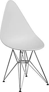 Emma + Oliver White Teardrop Plastic Chair with Chrome Base