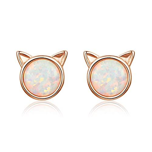 WHFY boucles d'oreilles pour femmes ensemble pas cher boucles d'oreilles en argent pour femmes, 925 argent sterling or rose opale pierre de naissance chat boucles d'oreilles, petit