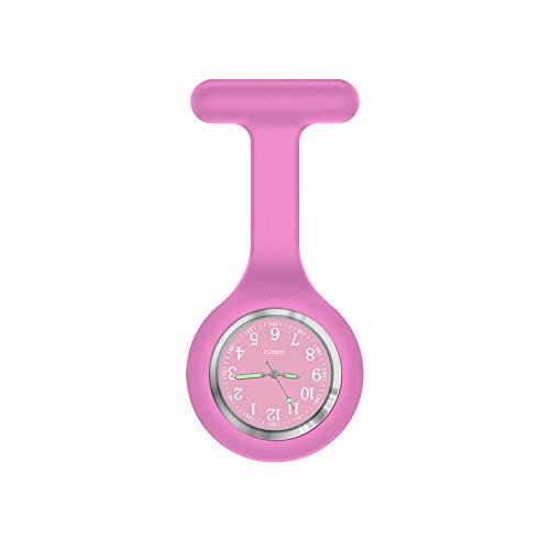 Krankenschwester Uhr Brosche, Hohe Qualität Silikon mit Pin/Clip, Glow in Dark, Infektionskontrolle Design, Health Care Krankenschwester Arzt Paramedic Medical Brosche Taschenuhr, violett