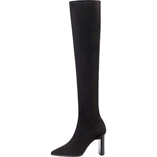RMFGN Damemmit Blockabsatz Spitzschuh Hohe StiefelSexy party warme schwarze stiefel für damen,Black suede-5.5UK/38EU