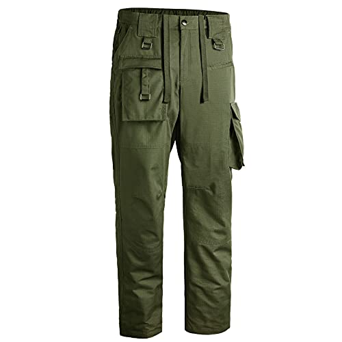 Mens Tactical Pants Relaxed fit Outdoor Cargo Hiking Pants Multi-Pockets Lightweight Waterproof Quick Dry Sweatpant Green