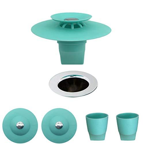 Fayomir 2 Stück Abflusssieb Silikon und Haarsieb für Dusche, BodenabläUfe, KüChenspüLen, Waschbecken und SpüLe - mit VerläNgerungsschlauch, Deo, Anti-Blocking