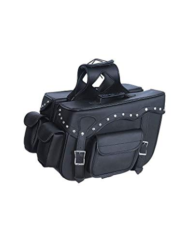 LARGE QUICK DETACH STUDDED MOTORCYCLE PVC LEATHER SADDLEBAGS UNIVERSAL FIT -BLACK (BLACK)