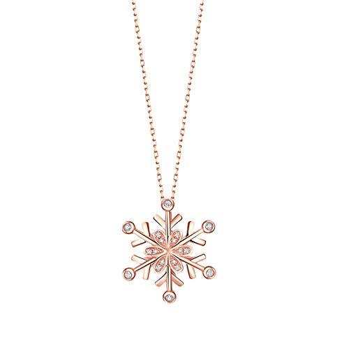 KnBob 18K Rotgold 750 Halskette für Frauen Schneeflocke Weiß Runde 0.04CT Diamant Schmuck Damen Modern 45CM