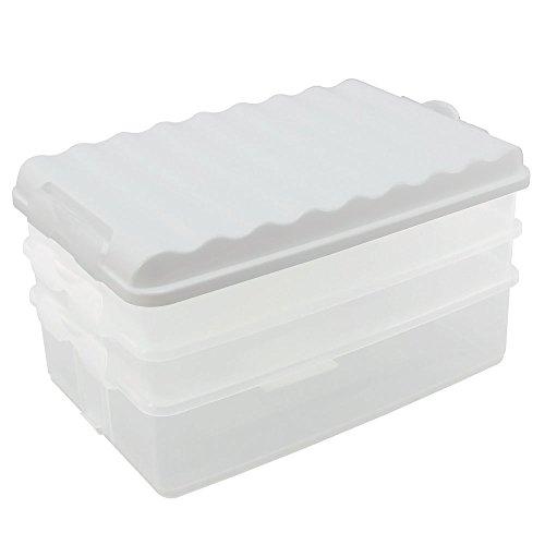 COM-FOUR® boîte à lunch avec plusieurs compartiments - boîte à trancher empilable pour le réfrigérateur - boîte à lunch étanche avec couvercle - env.25 x 15,5 x 14 cm (1 jeu/blanc)