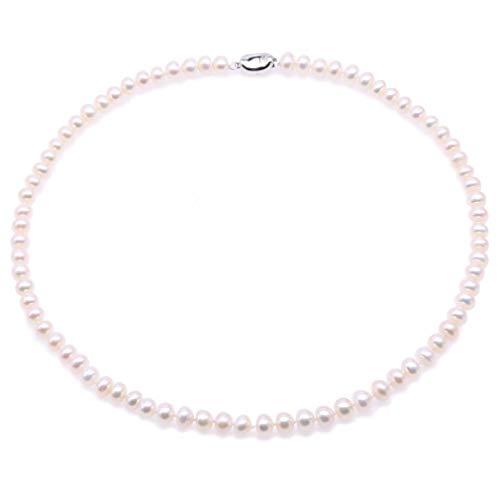 JYX perlenkette rosa 6–6,5 mm Süßwasserperle rund Zuchtperlen pink rundheraus Kette Choker 38,1 cm