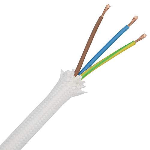 1,20 Meter Textilkabel Weiß 3-adrig 3G Stoffkabel für Pendel- und Hängeleuchten Stromkabel mit Stoff Textil Lampenkabel
