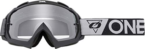 O'NEAL | Fahrrad- & Motocross-Brille | MX MTB DH FR Downhill Freeride | Hochpräzise 3D geformte Linse, Schlagfestigkeit, 100% UVA/B/C-Schutz | B-10 Goggle | Unisex | Schwarz Grau Clear | One Size
