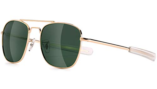 Mens Aviator Sunglasses 55mm Polarized Military Pilot Shades, Gold, Size Medium