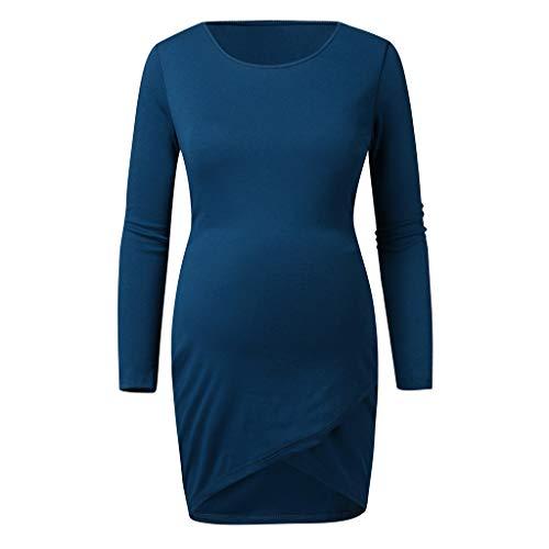 URSING Damen Langarm Rundhals Schwanger T-Shirt Top Umstandsshirt Umstandstop Schwangerschaft Umstands Strickkleid Pulloverkleid Umstandsmode Kleidung