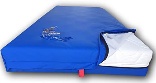 Zorgmatras - Wasserdichter Matratzenbezug in blau mit Reißverschluss, atmungsaktiv und abwishbar - 90x210 cm für Matratzenhöhe 35 cm - Fünf Jahre Garantie