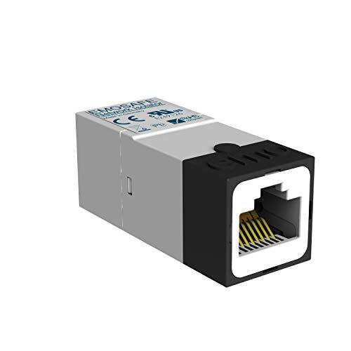 EMOSAFE EN-70HD Netzwerkisolator, Standalone, RJ45, galvanische Trennung, 1000 Mbit/s, Class D, IP40, 2 MOPP, Überspannungsschutz, TVS-Dioden, Weiß/Schwarz, Kunststoffgehäuse, A10054