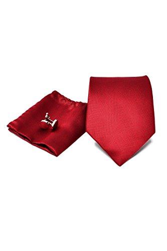 Coffret Ensemble Cravate Homme, Mouchoir de Poche, Boutons de Manchette Rouge - 100% en Soie - Classique, Elégant et Moderne - (Idéal pour un cadeau,