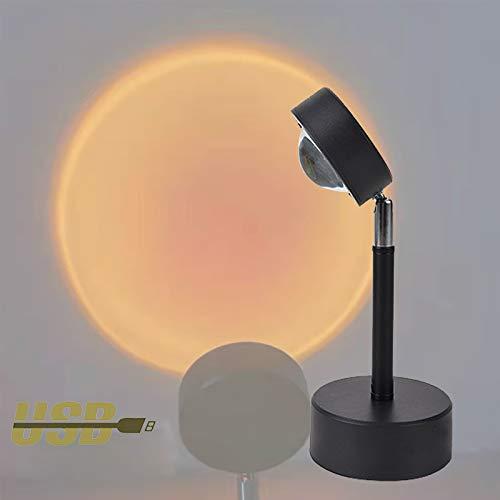 EnweLampi USB Sunset LED, Proyector Sol con Rotación de Cabeza de 180 °, Variedad de Opciones de Halo, Lámpara de Luz de Arco Iris para Bar, Cafetería, Fiesta,Sunset Red