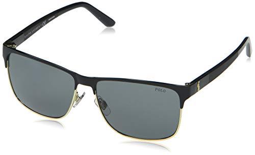 Polo Ralph Lauren Ph3128 Óculos de sol masculinos quadrados, Preto brilhante/cinza, 57 mm