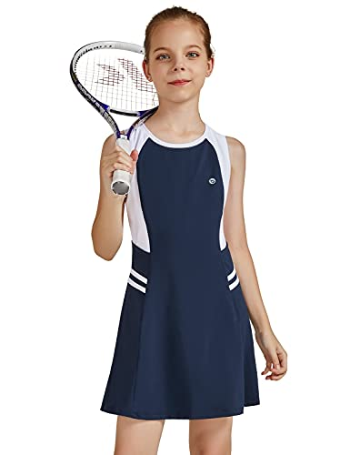 BALEAF Youth Girls Tennis Golf Dress Sleeveless Outfit Active Sports Dress with Shorts Pockets Navy/White S
