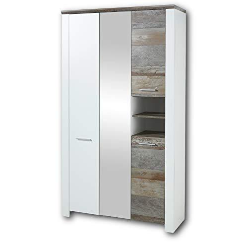 MATEO Garderobenschrank in Weiß mit Driftwood Optik - Moderner Flurgarderoben Schrank mit Spiegeltür - 112 x 198 x 39 cm (B/H/T)